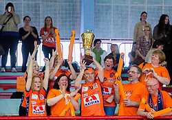 Fans of ACH celebrate after winning the volleyball match between Calcit Volleyball and ACH Volley in 4th Final Round of Radenska Classic League 2012/13 on April 16, 2013 in Arena Kamnik, Slovenia. ACH Volley defeated Calcit Kamnik in games 3-1 and became Slovenian National Champion 2013.(Photo By Vid Ponikvar / Sportida)