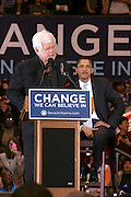 Senator Edward Kennedy and Senator Barack Obama at Presidental Candidate Barack Obama Rally at The Izod Center at the Meadowlands in New Jersey on February 4, 2008