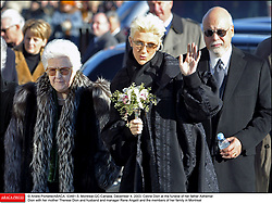 © Andre Pichette/ABACA. 53481-5. Montreal-QC-Canada, December 4, 2003. Celine Dion at the funeral of her father Adhemar Dion with her mother Therese Dion and husband and manager Rene Angelil and the members of her family in Montreal