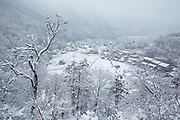 Scenic winter landscape with covered in snow houses, Shirakawa-go, Japan