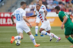 May 28, 2018 - Chester, PA, U.S. - CHESTER, PA - MAY 28: United States midfielder Weston McKennie (6) calls for the ball from United States midfielder Christian Pulisic (10) during the international friendly match between the United States and Bolivia at the Talen Energy Stadium on May 28, 2018 in Chester, Pennsylvania. (Photo by Robin Alam/Icon Sportswire) (Credit Image: © Robin Alam/Icon SMI via ZUMA Press)
