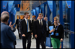 Image ©Licensed to i-Images Picture Agency. 28/09/2014. Birmingham, United Kingdom.  Prime Minister David Cameron with Jeremy Hunt on  Day one of the  Conservative Party Conference.Picture by Andrew Parsons / i-Images