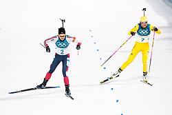 February 12, 2018 - Pyeongchang, SOUTH KOREA - 180212  Marte Olsbu of Norway and Hanna Öberg of Sweden competes in the Women's Biathlon 10km Pursuit during day three of the 2018 Winter Olympics on February 12, 2018 in Pyeongchang..Photo: Jon Olav Nesvold / BILDBYRÃ…N / kod JE / 160156 (Credit Image: © Jon Olav Nesvold/Bildbyran via ZUMA Press)