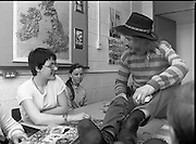 "1982.19.05.1982.05.19.1982.19th May 1982.Pat Ingoldsby at CRC. Catherine Callery and Adrienne Farrell show pat how to do a jigsaw.. In preparation for the C.R.C charity ""Jogathon"" Pat Ingoldsby visits the children at the centre. The jogathon would be led by eight major celebrities including Brendan Grace (Bottler) and Rugby international Ciaran Fitzgerald."