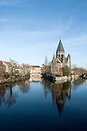 The Temple Neuf reflected in the River Moselle, Metz, France © Rudolf Abraham