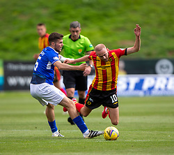 31JUL21 Queen of the South's Paul McKay and Partick Thistle's Zak Rudden. Partick Thistle 3 v 2 Queen of the South. First Scottish Championship game of the season.
