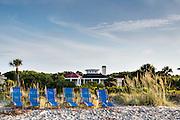 Beach chairs ready for tourists on Isle of Palms at Wild Dunes resort near Charleston, South Carolina.