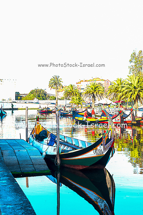 Digitally enhanced image of traditional Colourful boats (barcos moliceiros Originally used for collecting seaweed) on canal central in Aveiro, Portugal