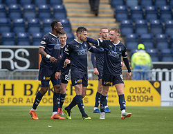 Falkirk's Ian McShane cele scoring their goal. half time : Falkirk 1 v 1 Partick Thistle, Scottish Championship game played 16/3/2019 at The Falkirk Stadium.