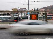 Bus station at Evropska street in Prague.