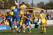AFC Wimbledon striker James Hanson (18) battles for possession during the EFL Sky Bet League 1 match between AFC Wimbledon and Bristol Rovers at the Cherry Red Records Stadium, Kingston, England on 19 April 2019.