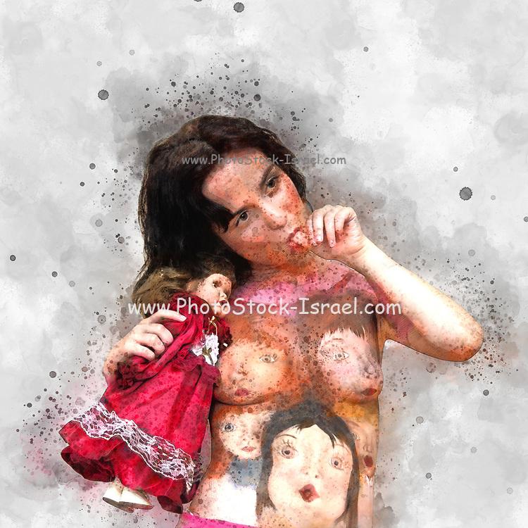 Body art - female model with porcelain dolls painted on her upper body, Sucks her thumb. Digitally enhanced image
