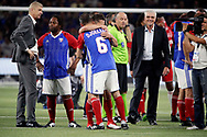 Youri Djorkaeff (France 98) in arms of Bixente Lizarazu (France 98), Arsene Wenger (FIFA 98), Aime Jacquet (France 98) during the 2018 Friendly Game football match between France 98 and FIFA 98 on June 12, 2018 at U Arena in Nanterre near Paris, France - Photo Stephane Allaman / ProSportsImages / DPPI