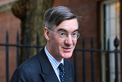 © Licensed to London News Pictures. 28/10/2019. London, UK. Leader of The House of Commons JACOB REES-MOGG arrives in Downing Street. Later today MPs will vote on BORIS JOHNSON's motion on a general election in December 2019. Photo credit: Dinendra Haria/LNP