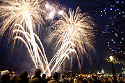 People gathered on the Southbank of the river Thames to watch the fireworks display for the Lord Mayor's Show in London.