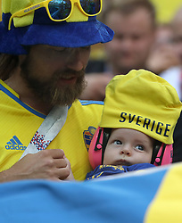 SAINT PETERSBURG, July 3, 2018  Fans of Sweden are seen during the 2018 FIFA World Cup round of 16 match between Switzerland and Sweden in Saint Petersburg, Russia, July 3, 2018. (Credit Image: © Cao Can/Xinhua via ZUMA Wire)