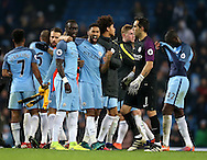 Bacary Sagna of Manchester City and Gael Clichy of Manchester City celebrate during the English Premier League match at the Etihad Stadium, Manchester. Picture date: December 18th, 2016. Picture credit should read: Simon Bellis/Sportimage