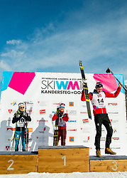 February 2, 2018 - Goms, SWITZERLAND - 180202 Jules Lapierre of France, Denis Spitsov of Russia and Ole JÂ¿rgen Bruvoll of Norway on the podium after the men's 15/15 km skiathlon during the FIS U23 Cross-Country World Ski Championships on February 2, 2018 in Obergoms..Photo: Vegard Wivestad GrÂ¿tt / BILDBYRN / kod VG / 170096 (Credit Image: © Vegard Wivestad Gr¯Tt/Bildbyran via ZUMA Press)