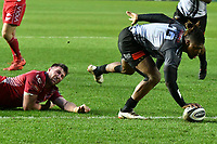 Rugby Ubion_ 2019 / 2020 Guinness Pro14 - Scarlets vs. Southern Kings<br /> <br /> Howard Mnisi, of Southern Kings scores a try , at Parc y Scarlets, Llanelli. <br /> <br /> COLORSPORT/WINSTON BYNORTH