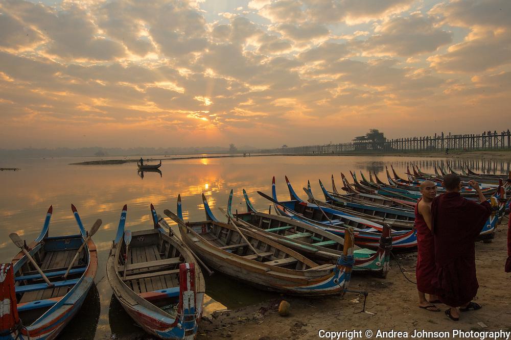 Sunrise over the world's longest teak bridge,  U Bein Bridge, near Mandalay, Burma