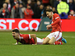 07 January 2018 FA Cup 3rd round Nottingham - Nottingham Forest v Arsenal - Eric Lichaj celebrates the opening Forest goal with Matty Cash.<br /> (photo by Mark Leech)