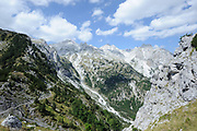 View down the Valbone river valley and of Prokletije, Bjeshkët e Namuna, Cursed Mountains (also know as The Blessed Mountains) from the Valbone pass. Valbone, Albania 04Sep15