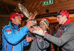 06.01.2014, Berghof, St. Johann Alpendorf, AUT, FIS Ski Sprung Weltcup, 62. Vierschanzentournee, Siegesfeier, im Bild Thomas Diethart (AUT) und Thomas Morgenstern (AUT) feiern mit Cheftrainer Alexander Pointner (AUT)  // Alexander Pointner (AUT), Thomas Diethart (AUT) and Thomas Morgenstern (AUT) celebrates after Winning the 62nd Four Hills Tournament of FIS Ski Jumping World Cup at the Hotel Berghof, St. Johann Alpendorf, Austria on 2014/01/06. EXPA Pictures © 2014, PhotoCredit: EXPA/ JFK