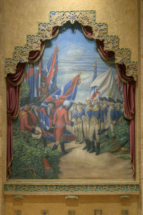 Ornate painting depicting national history, completed by local artist Lola Poston, inside the Lincoln Theatre in Marion, VA on Wednesday, August 7, 2013. Copyright 2013 Jason Barnette