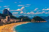 High angle view of Copacabana Beach, with Sugarloaf Mountain behind, Rio de Janeiro, Brazil.