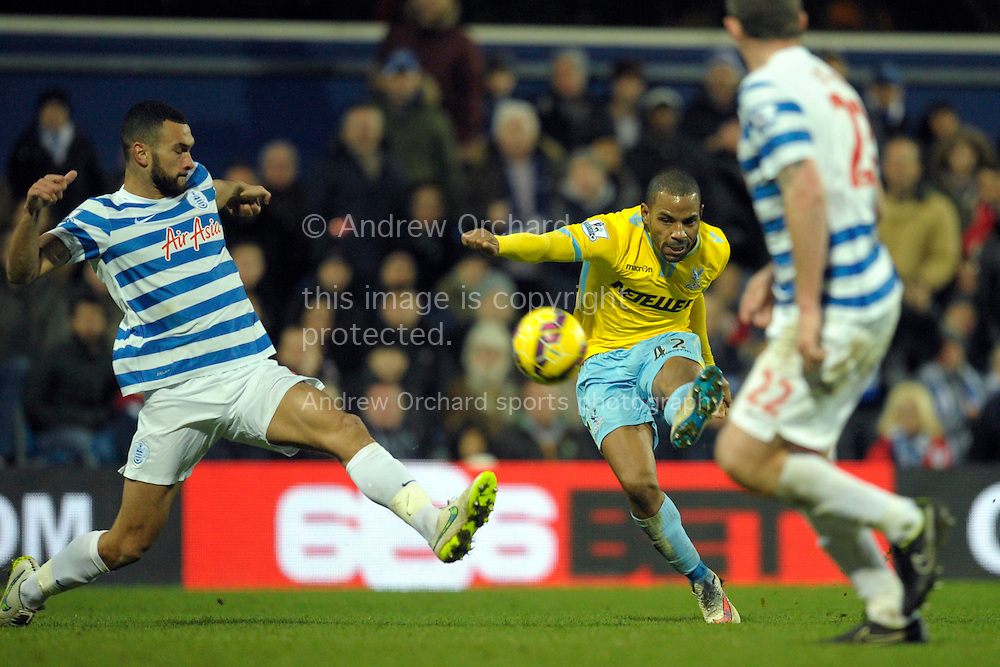 Jason Puncheon of Crystal Palace takes a shot at goal. Barclays Premier league match, Queens Park Rangers v Crystal Palace at Loftus Road in London on Sunday 28th December 2014.<br /> pic by John Patrick Fletcher, Andrew Orchard sports photography.