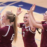 11/4/166:03:21 PM ---volleyball----<br /> <br /> (From left to right) Saddleback College Avie Butsko, Courtney Rose, Mariah Torres and Landry Armstrong give each other high-fives after shaking hands with Fullerton College before their regular conference match on Nov. 4, 2016. Saddleback would defeat Fullerton College 3-1 adding a new win to their current record of 13-7.<br /> <br /> Photo by Claire Rounkles, Sports Shooter Academy