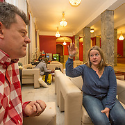 CAPTION:  LOCATION: St Petersburg, Russia. INDIVIDUAL(S) PHOTOGRAPHED: John Bines (left) and Joanna ('Jo') Rogers (right).