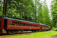 Skunk Train (tourist train) at Willits, Mendocino County, California USA
