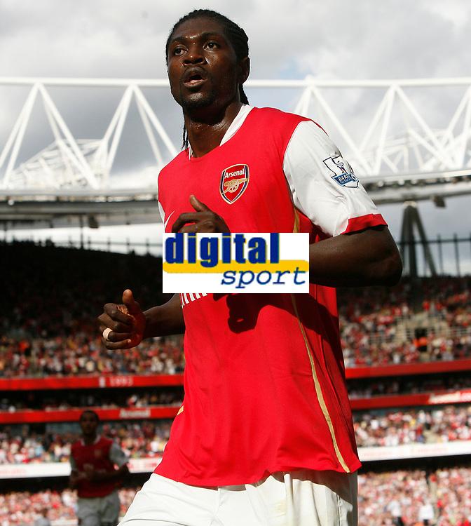 Photo: Steve Bond.<br />Arsenal v Derby County. The FA Barclays Premiership. 22/09/2007. Emmanual Adebayor celebrates