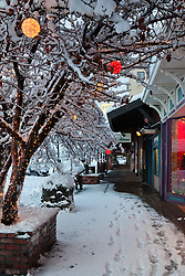 """""""Holiday Lights in Downtown Truckee 4"""" - These snow covered holiday lights were photographed on Commercial Row in historic Downtown Truckee, CA."""