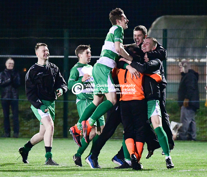 Trim Celtic players and subs embrace their goalkeeper, Aaron Ryan, after he saved a penalty and scored the winning goal in the penalty shootout   in the Trim Celtic v Avenue Utd FAI Leinster Junior cup game at MDL grounds, Navan .<br /> <br /> Photo: GERRY SHANAHAN-WWW.QUIRKE.IE<br /> <br /> 17-01-2020