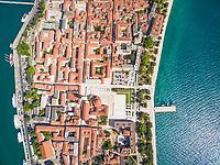 Aerial view of the city of Zadar in Croatia.