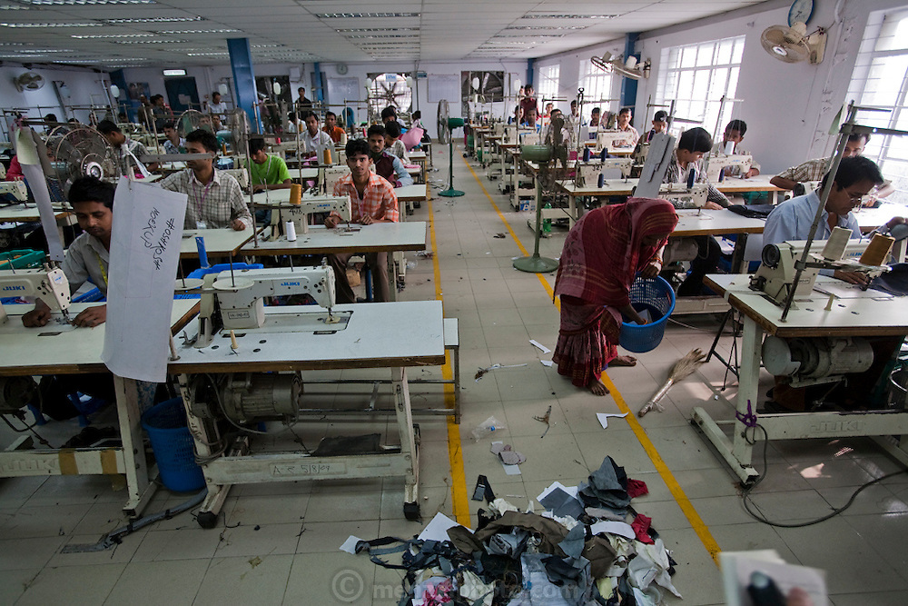 A busy day at the Ananta apparel factory where Ruma Akhter works as a seamstress.(Ruma Akhter is featured in the book What I Eat: Around the World in 80 Diets) The factory is located on Elephant Road, downtown Dhaka, Bangladesh. While nearly half of Bangladesh's population is employed in agriculture, in recent years the economic engine of Bangladesh has been its garment industry, and the country is now the world's fourth largest clothing exporter, ahead of India and the United States. Dependent on exports and fearing international sanctions, Bangladesh's garment industry has implemented rules outlawing child labor and setting standards for humane working conditions.