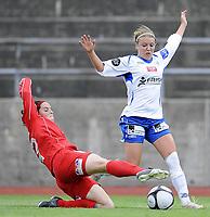 Fotball<br /> 7 juli 2009<br /> Toppserien NM Kvartfinale<br /> Kolbotn - Team Strømmen<br /> Ann-Mari Dovland , Kolbotn<br /> Rhian Wilkinson , Team Strømmen<br /> Foto : Reidar Talset , Digitalsport