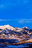 Ski slopes at Aspen/Snowmass ski resort at sunrise, Snowmass Village, Colorado USA.
