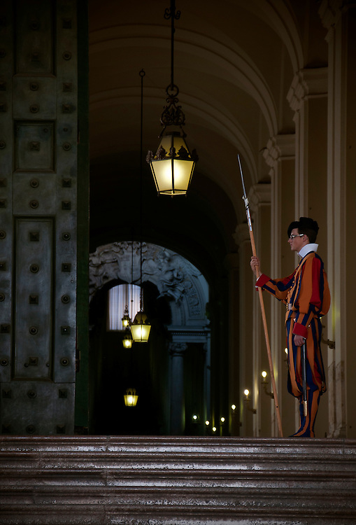 Swiss guard on duty at St. Paul's Cathedral, Vatican City