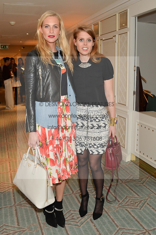 Left to right, POPPY DELEVINGNE and PRINCESS BEATRICE OF YORK at the launch of Mrs Alice in Her Palace - a fashion retail website, held at Fortnum & Mason, Piccadilly, London on 27th March 2014.