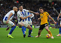 Football - 2018 / 2019 Premier League - Brighton & Hove Albion vs. Wolverhampton Wanderers<br /> <br /> Bruno and Shane Duffy of Brighton challenges Diogo Jota of Wolves, at The Amex.<br /> <br /> COLORSPORT/ANDREW COWIE
