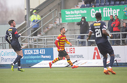 Partick Thistle's Scott McDonald scoring their goal. half time : Falkirk 1 v 1 Partick Thistle, Scottish Championship game played 16/3/2019 at The Falkirk Stadium.