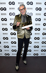 Jeff Goldblum in the press room with the Haig Club Icon Award at the GQ Men of the Year Awards 2018 in Association with Hugo Boss held at The Tate Modern in London.