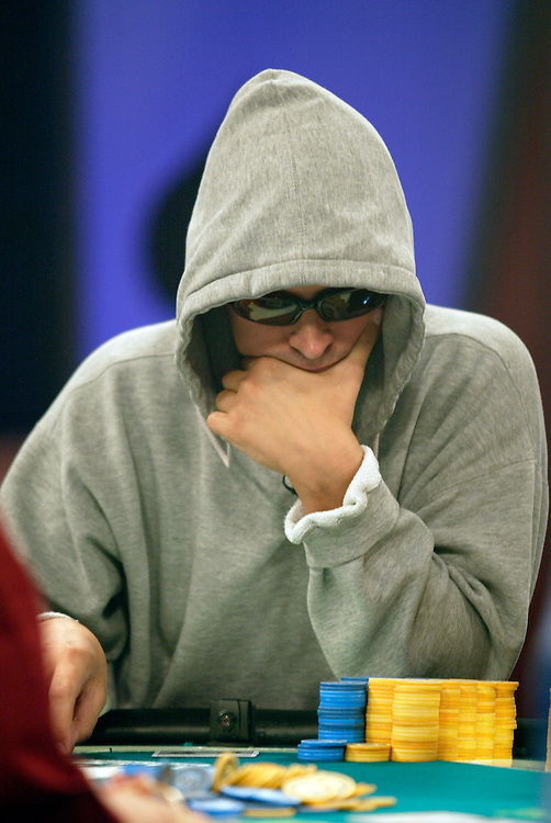 """September 1, 2003: Phil Laak, aka """"The Unibomber"""", keeps his face and eyes covered to prevent others from reading anything into his body language or eyes at the World Poker Tour event at the Bicycle Club in Los Angeles."""