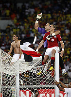 Fotball<br /> Afrikamesterskapet 2010<br /> Foto: imago/Digitalsport<br /> NORWAY ONLY<br /> <br /> 31.01.2010  <br /> Egypt celebrates victory, r to l: Mohamed Zidan, Essam El Hadary and Ahmed El Mohamadi -  African Cup of Nations Final