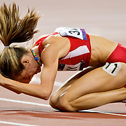 Morgan Uceny of the United States banged the track in frustration after falling on the last lap of the women's 1500m final at Olympic Stadium during the 2012 Summer Olympic Games in London, England, Friday, August 10, 2012. (David Eulitt/Kansas City Star/MCT)