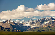 Evening light on Gulkana Glacier and Alaska Range in Interior Alaksa. Summer.