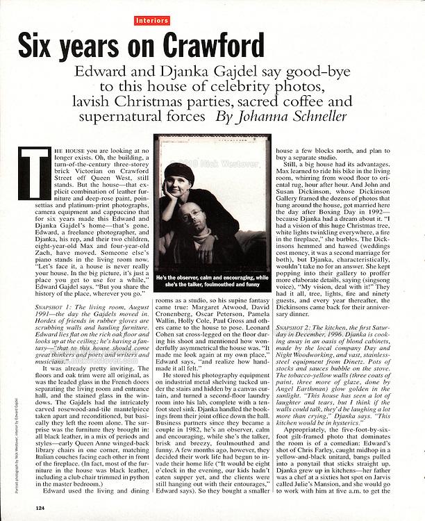 Edward & Djanka Gajdel, Toronto Life magazine